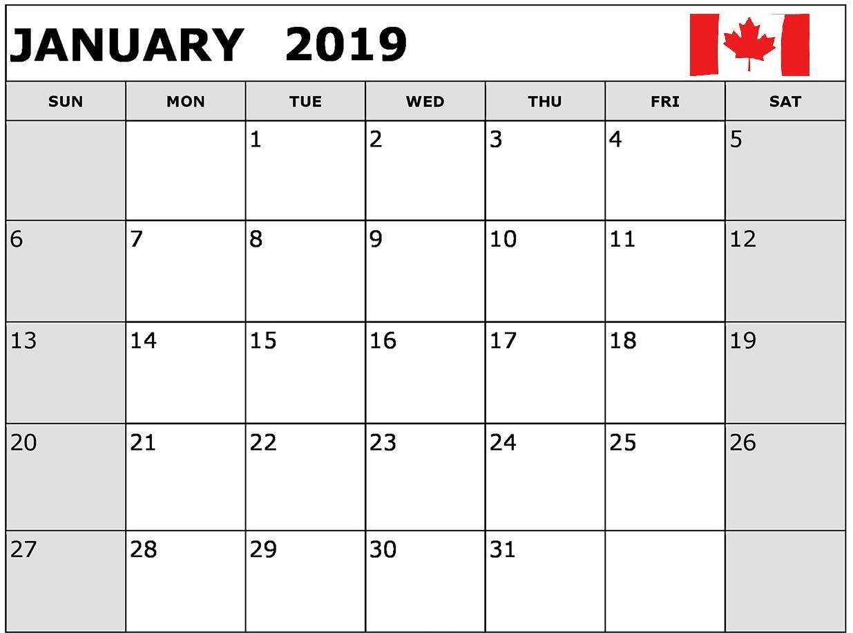 January Calendar Canada Printable January