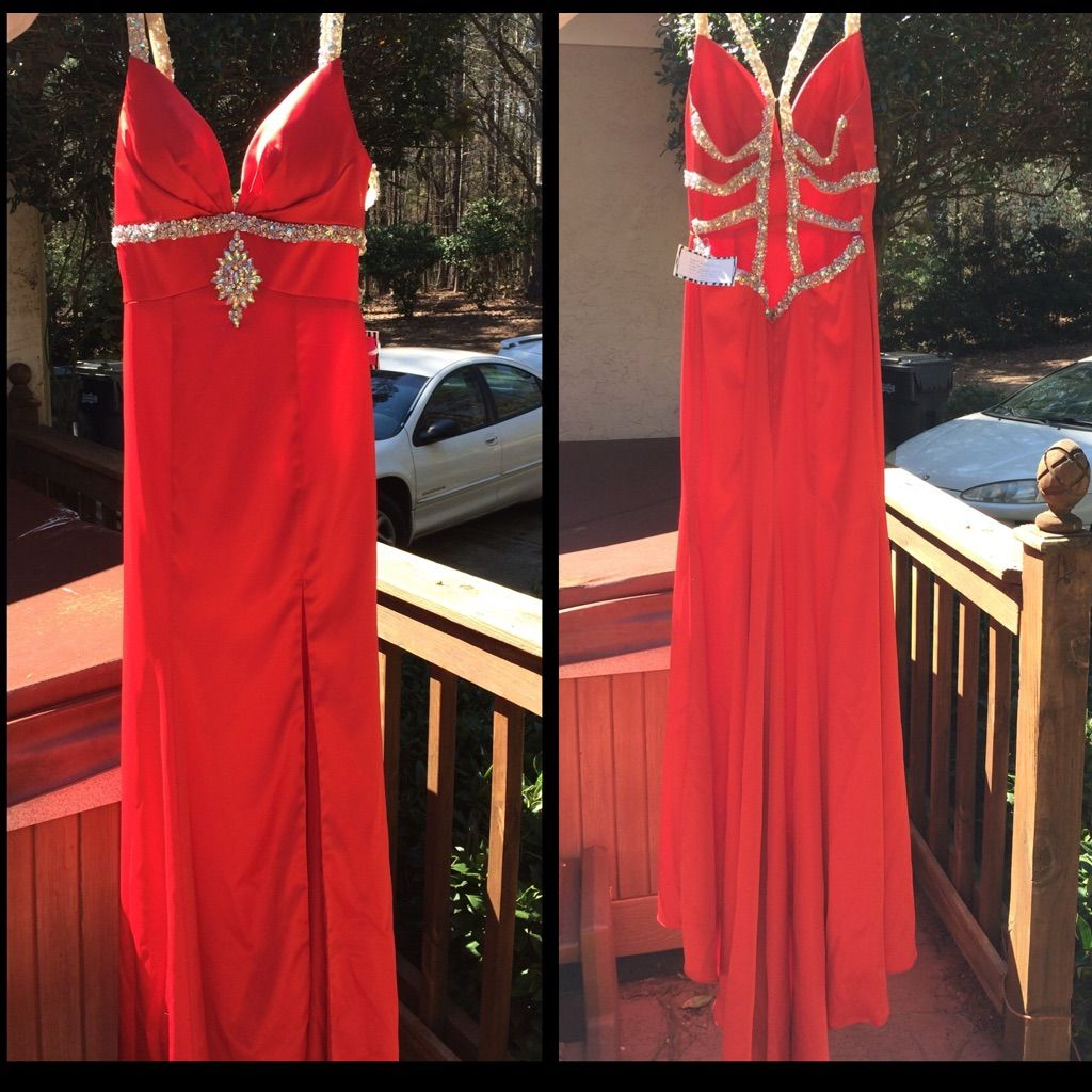 Red prom dress w glittery bead detailing products