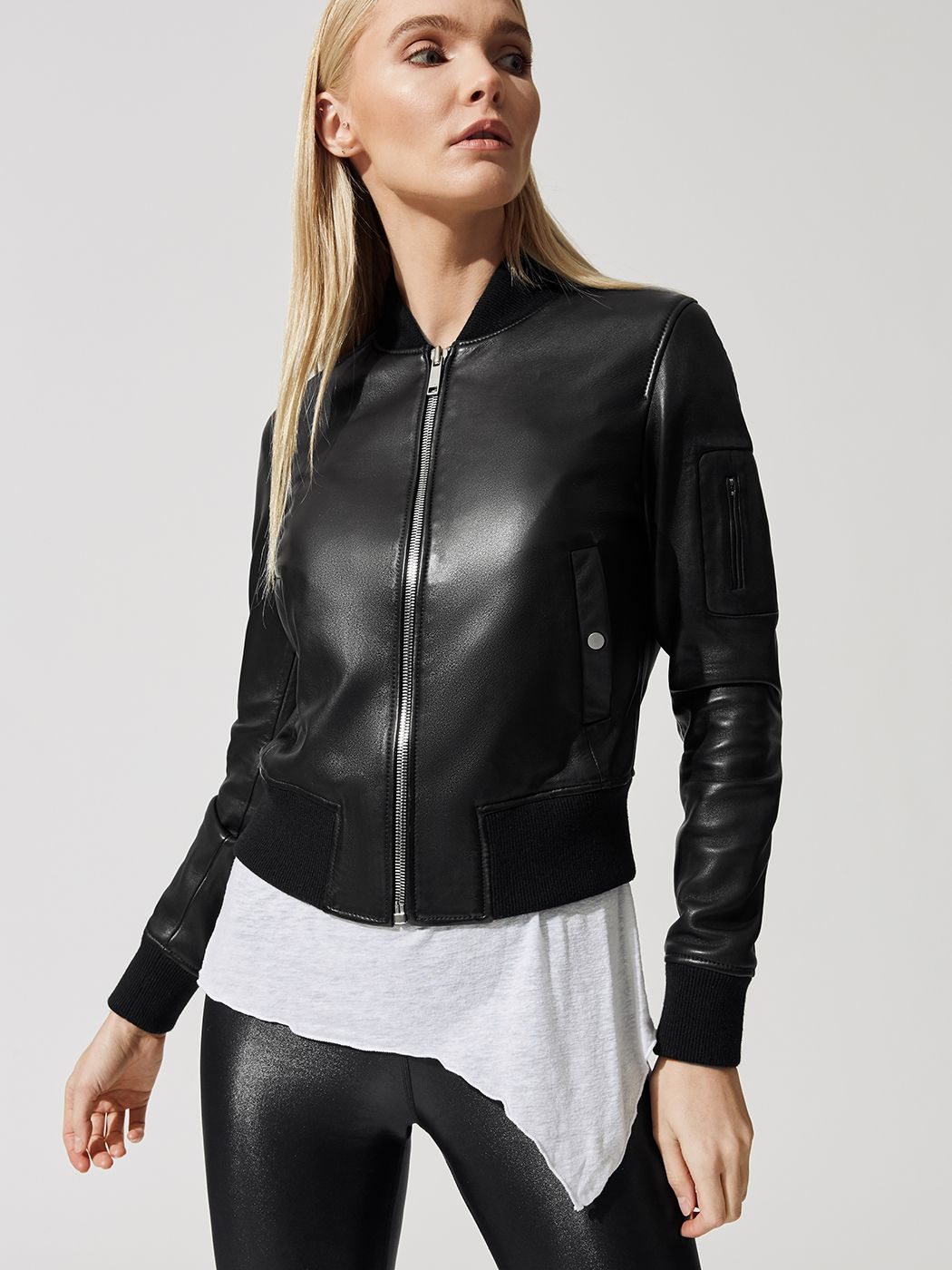 Min Bomber Jacket In Black By Lth Jkt From Carbon38 Leather Jacket Girl Jackets Bomber Jacket [ 1400 x 1050 Pixel ]