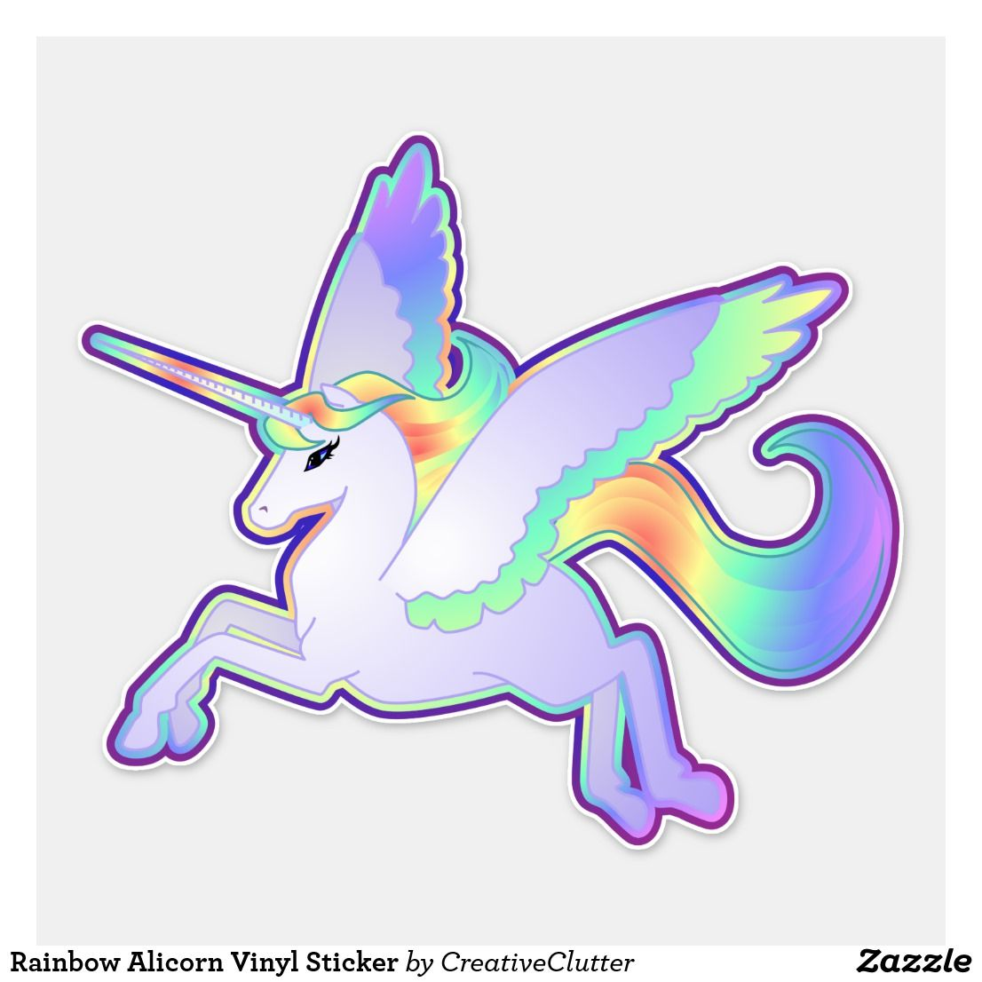 Rainbow Alicorn Vinyl Sticker Zazzle Com With Images Vinyl