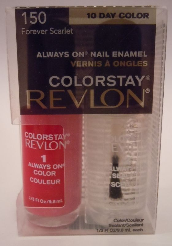 Revlon Colorstay Nail Enamel Polish 150 Forever Scarlet After Topcoat Sealant