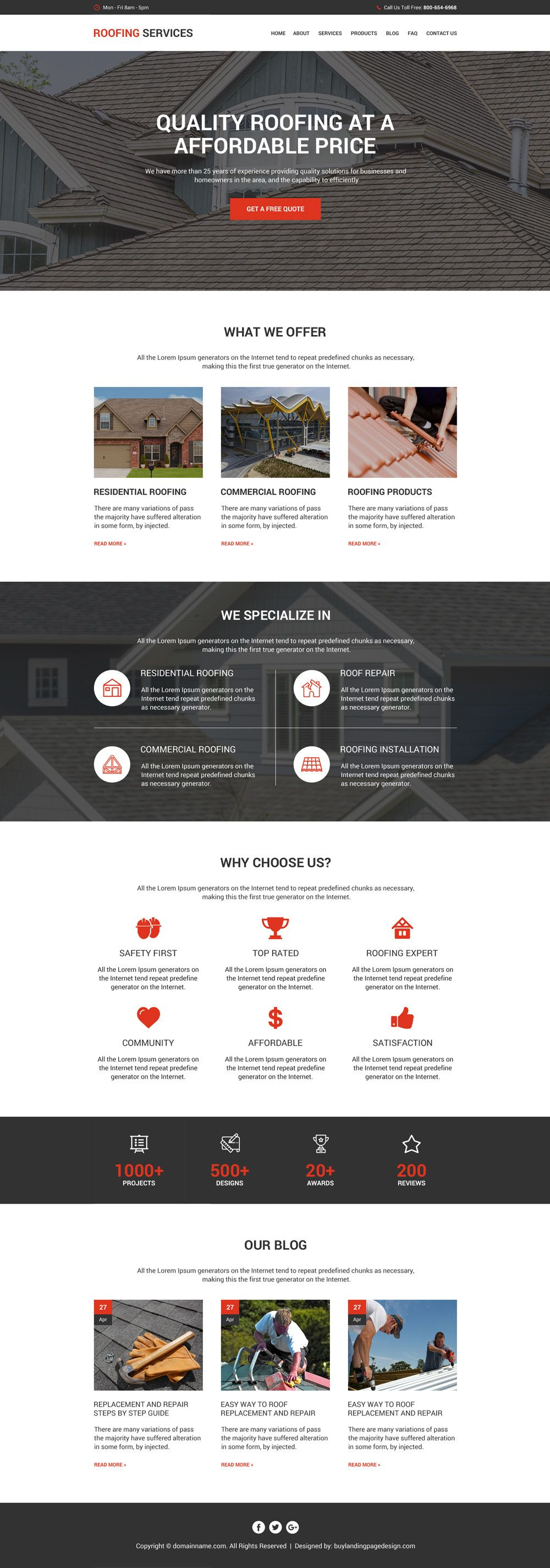 quality roofing service modern and clean website design html website templates design templates website