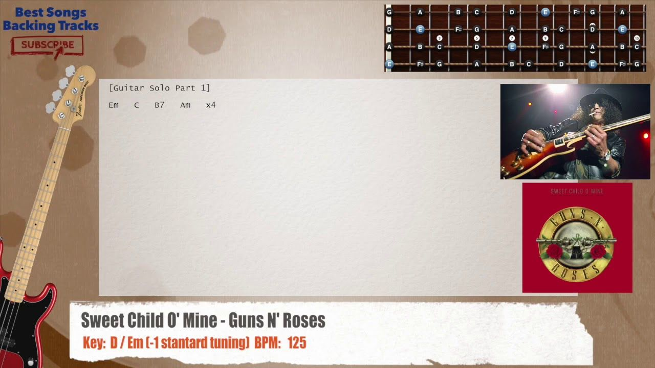 Sweet Child O Mine Guns N Roses Bass Backing Track With Chords