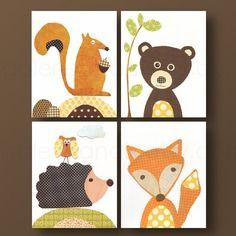 Lot de 4 illustrations pour chambre d\'enfant et bebe, jaune, marron ...