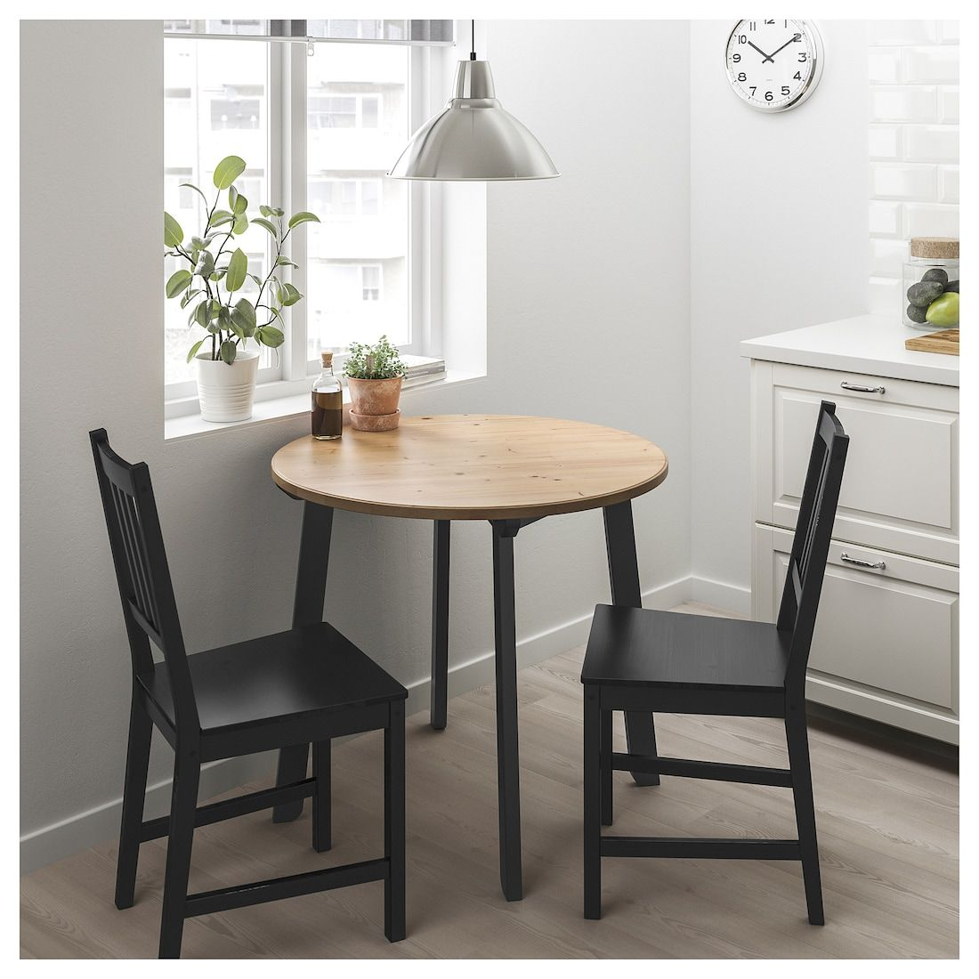 Gamlared Stefan Table And 2 Chairs Light Antique Stain Brown Black 33 1 2 Dining Room Small Small Kitchen