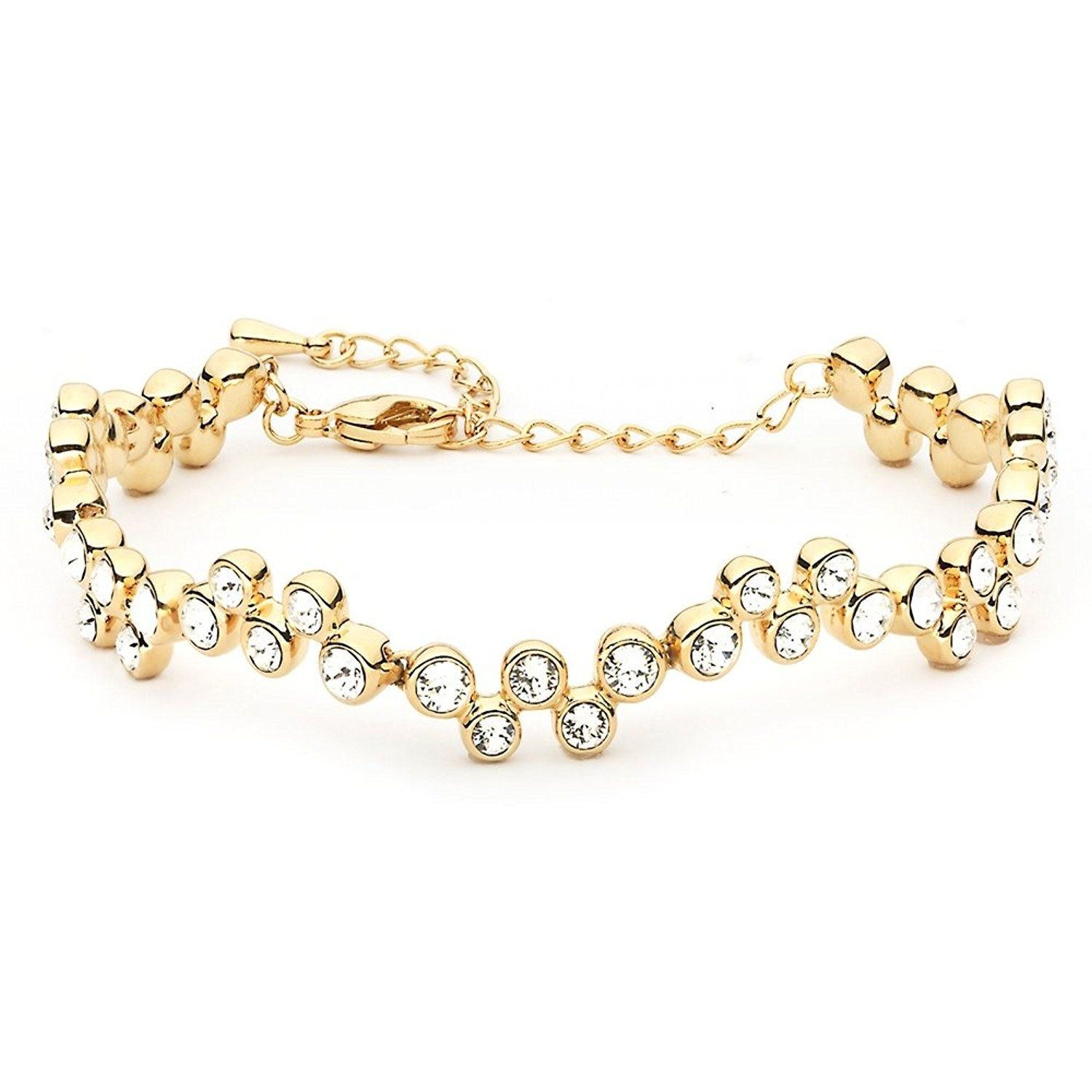 MYJS Fidelity 16k Gold Plated Tennis Bracelet with Clear Swarovski Crystals, 17+5cm Extender