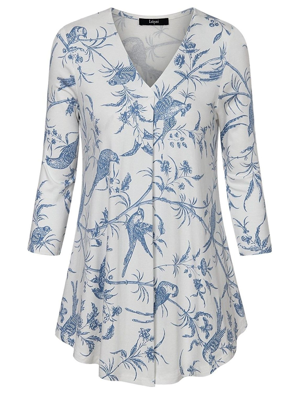 57168bde0c8 Womens Floral Tunic Tops 3 4 Sleeve V Neck Pleated Casual Tunic ...