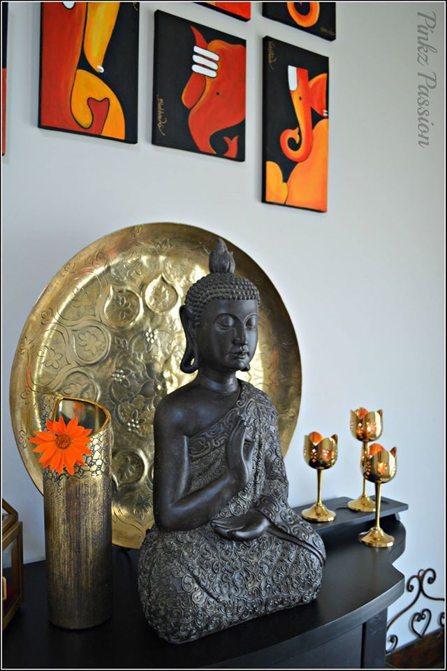 Indian Inspired Décor, Buddha décor, Indian home décor, Brass décor, Indian brass décor, Buddha Statues, Front foyer: