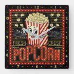 Movie Theatre Marquee Home Cinema Popcorn Square Wall Clock | Zazzle.com