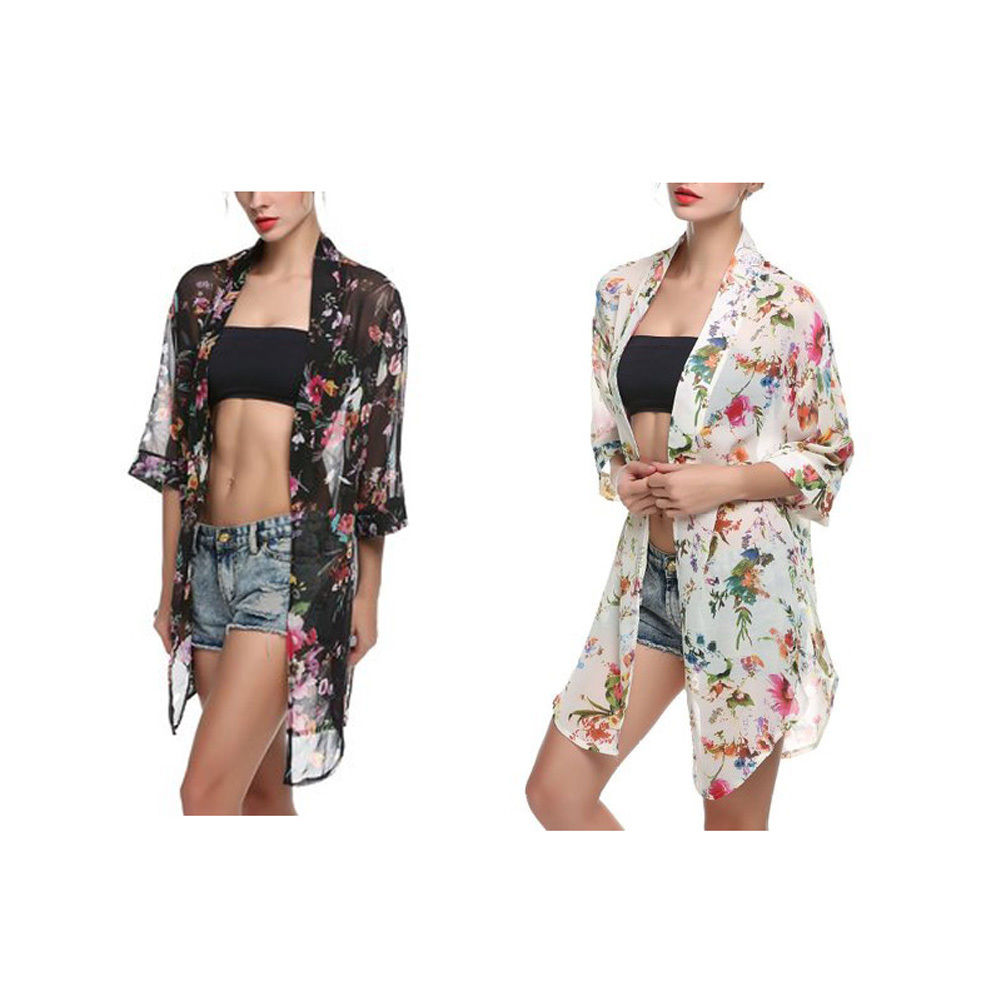 Fashion Women's Floral Chiffon Kimono Cardigan Blouse Beach Cover ...