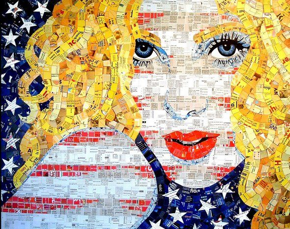 American artist Sandhi Schimmel has mastered the art of transforming trash to treasure in her unique mosaics made of paper waste. Gold's exquisite work includes paper waste from: menus, junk mail, greetings cards, advertising brochures, and much more.