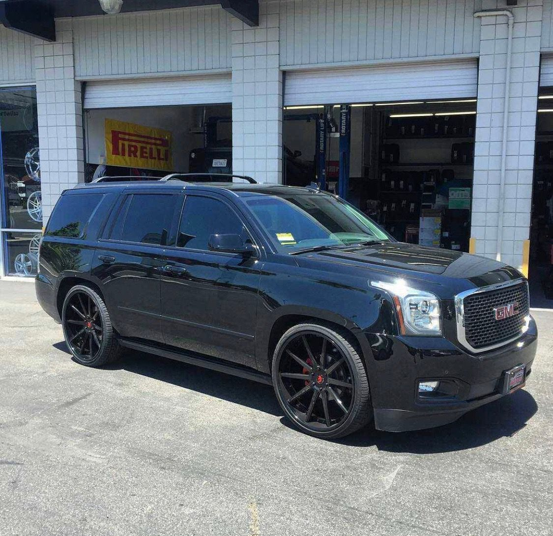Black Yukon Denali Black Multi Spoke Custom Wheels Yukon Denali Gmc Yukon Best Suv