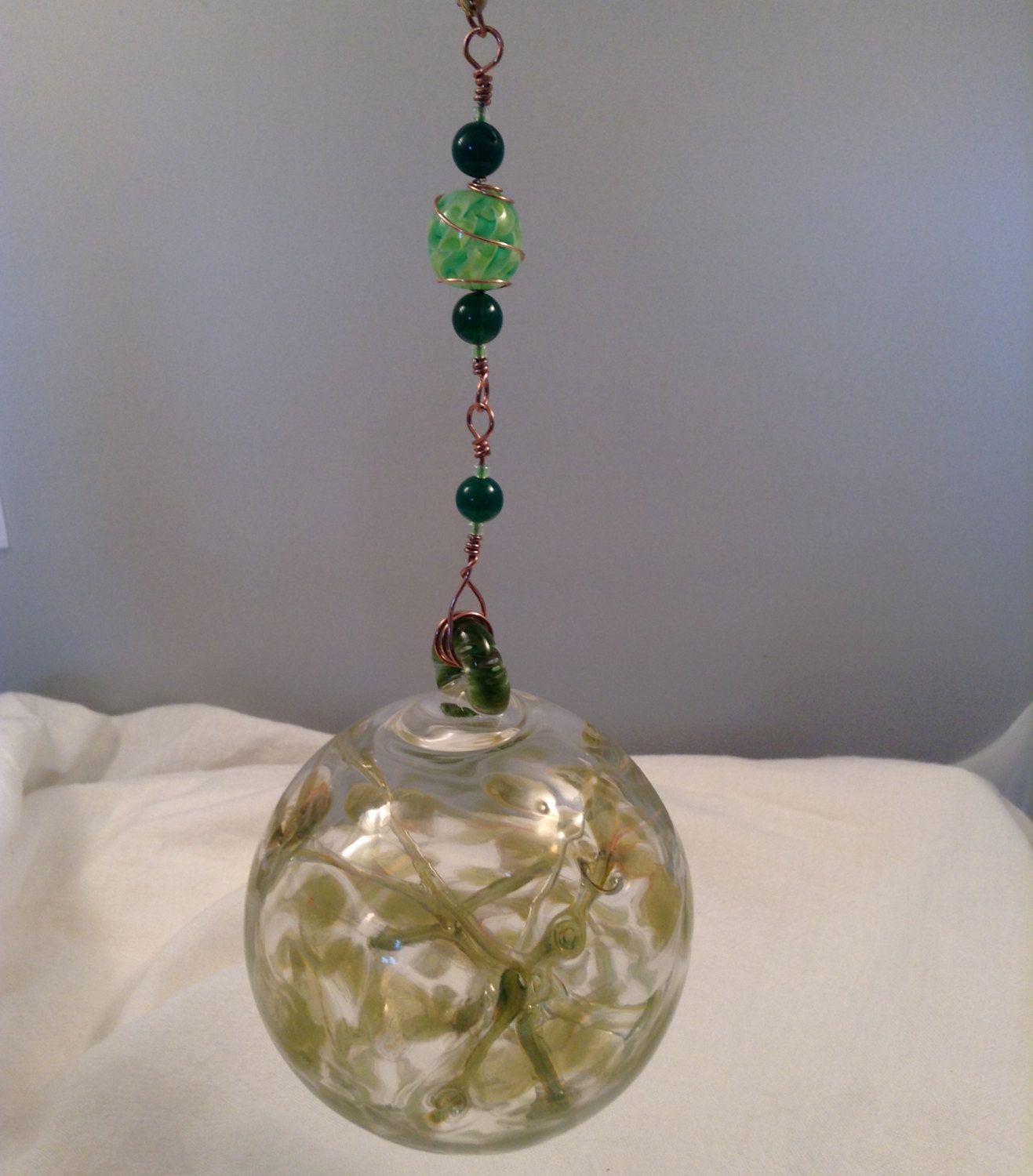 Hand blown clear glass ornaments - Pixie Fairy Orb Witch Ball Hand Blown Glass Hanging Ornament Green With