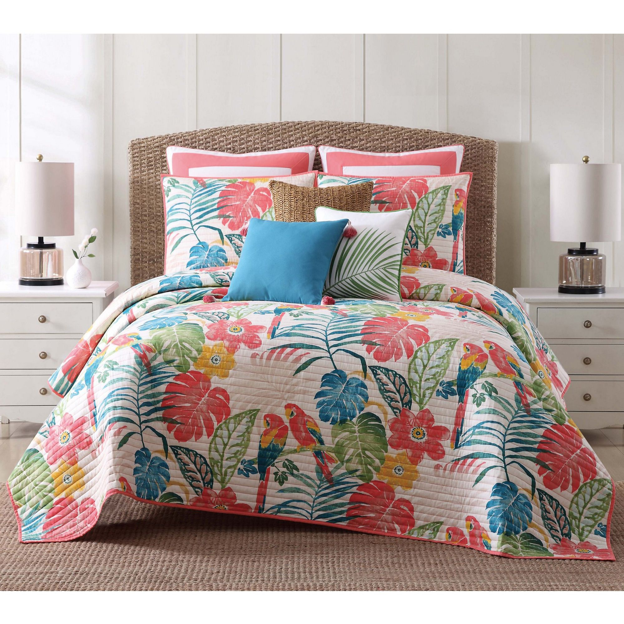 This Quilt Set From Oceanfront Resort Has Bright Palm Prints Dominated By A Coral Color With Printed Par Comforter Sets King Comforter Sets Luxury Bedding Sets