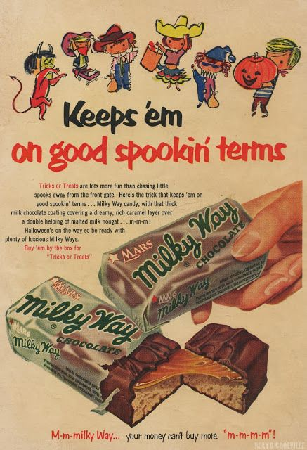MILKY WAY BARS KEEPS \u0027EM ON GOOD SPOOKIN\u0027 TERMS 1953 Old Timey Ads - frontgate halloween