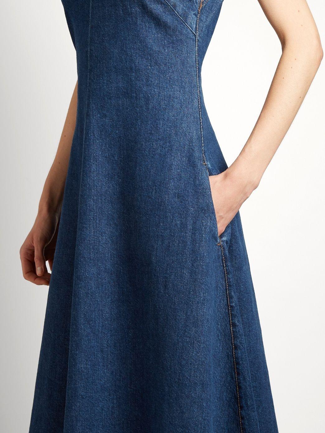 c366afcd66f Ella V-neck fluted denim dress