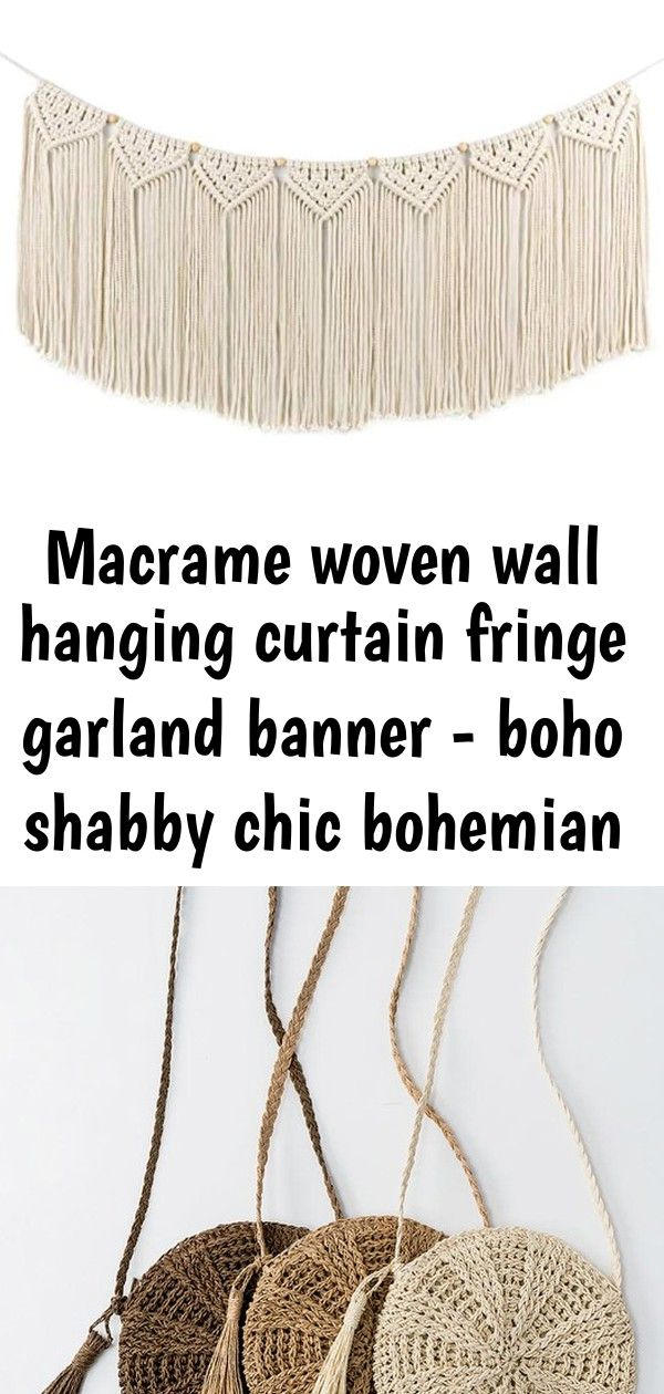 Macrame woven wall hanging curtain fringe garland banner - boho shabby chic bohemian wall decor 6 #curtainfringe