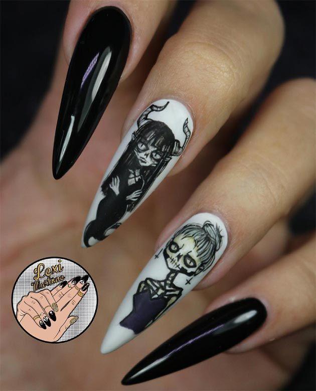 50 Awe-Inspiring Halloween Nail Art Designs | Goth nails, Nails ...