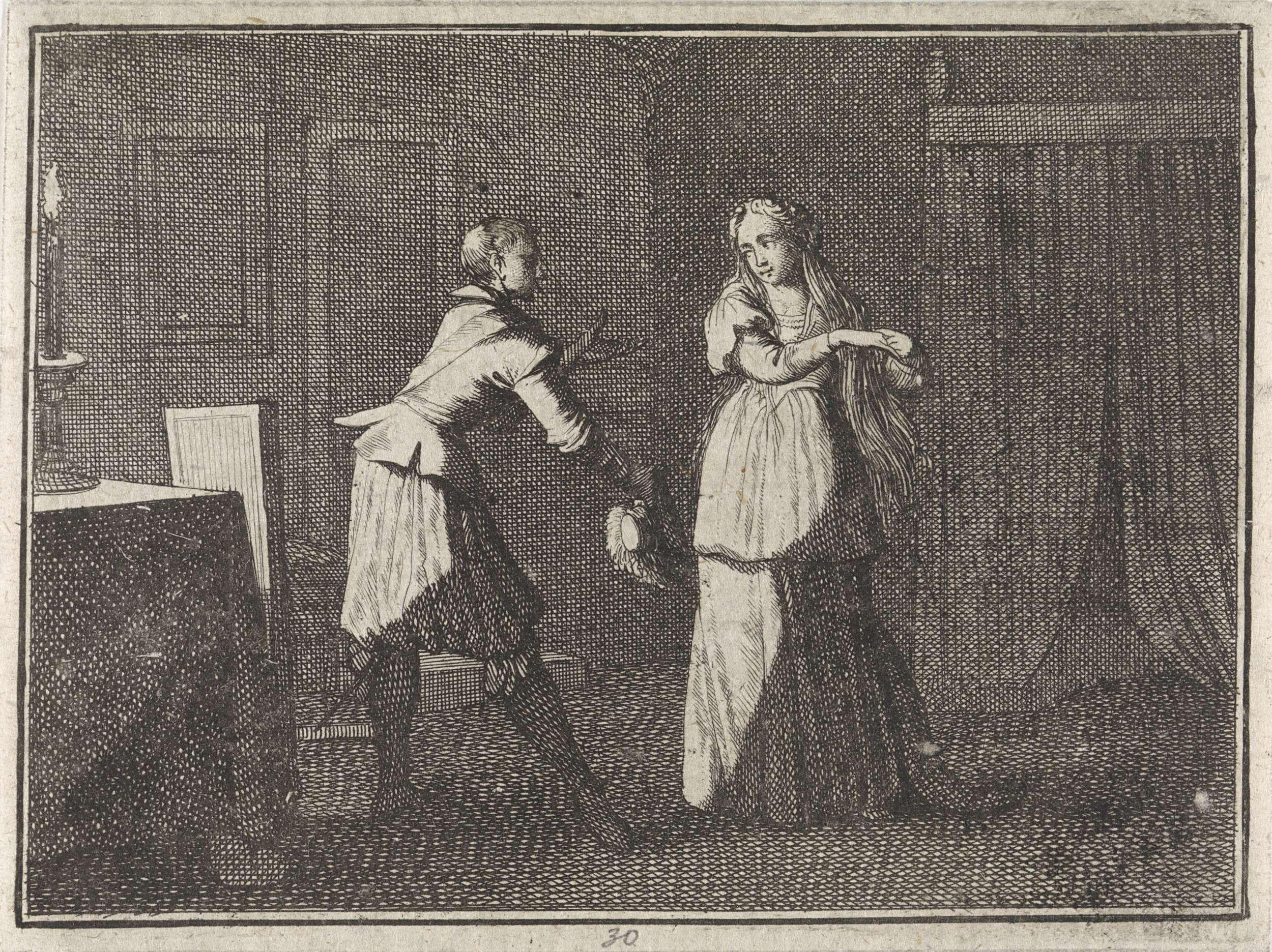 Caspar Luyken   Gesprek tussen een vrouw en een man bij kaarslicht, Caspar Luyken, Christoph Weigel, Frantz Martin Hertzen, 1710  