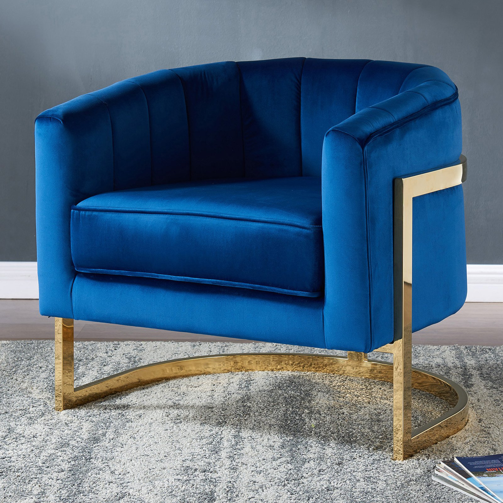 !nspire Velvet / Chrome Accent Chair Blue in 2019 Accent