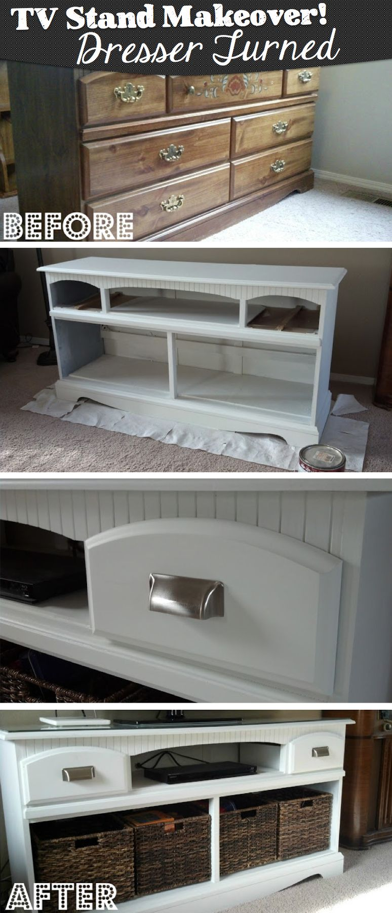 Repurpose an old dresser and turn it into a brand new tv cabinet
