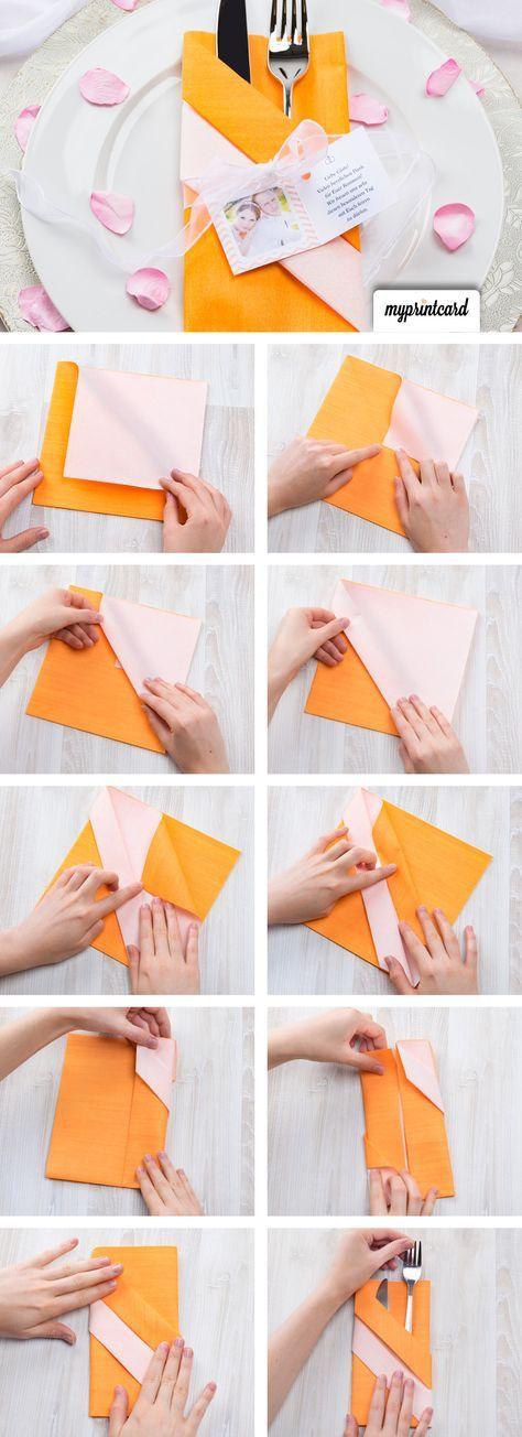 kreativ servietten falten die bestecktasche konfirmation napkin folding napkins und origami. Black Bedroom Furniture Sets. Home Design Ideas