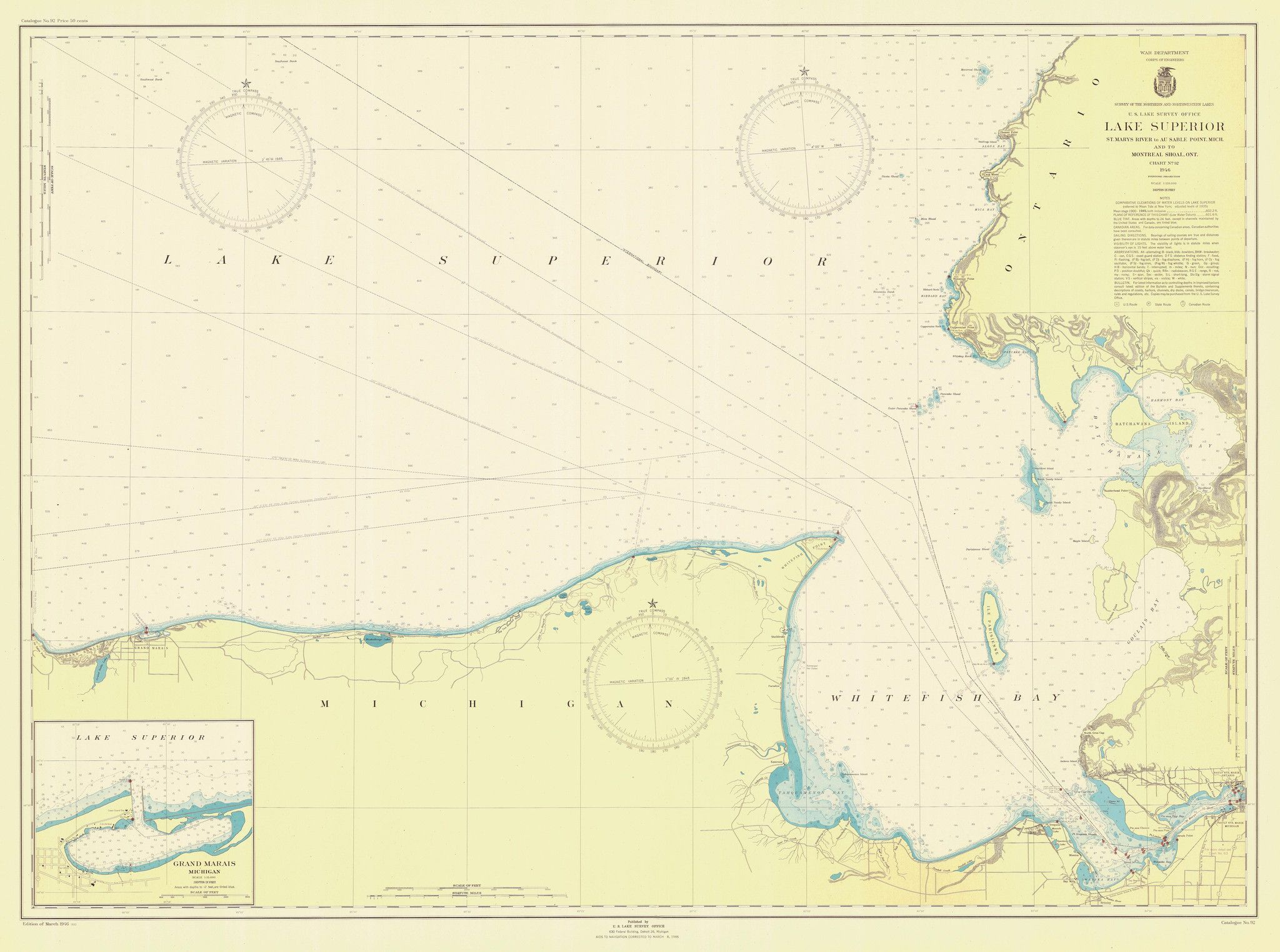 Lake superior east end historical map 1946 lake superior a beautiful high quality print of the historical map of lake superior east end from we take great care to ensure that the best materials packaging and s freerunsca Choice Image