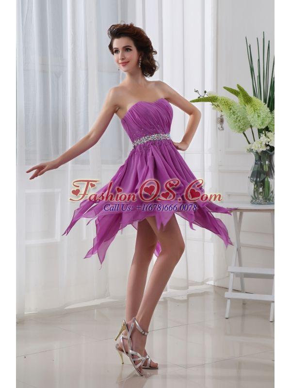 Fuchsia Empire Sweetheart Short Beading Ruching Chiffon Prom Dress