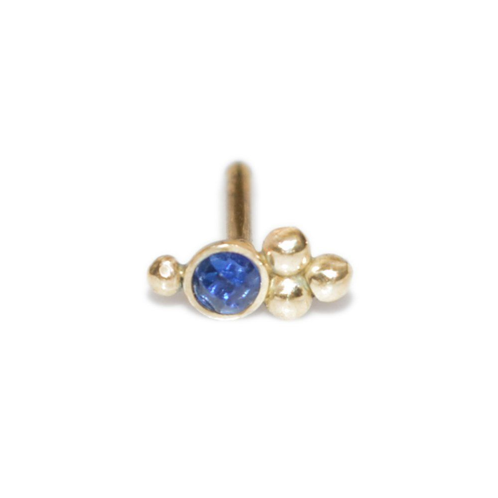 Gold nose piercing  Gold Nose Stud with mm Sapphire  gauge  Cartilage Stud Daith