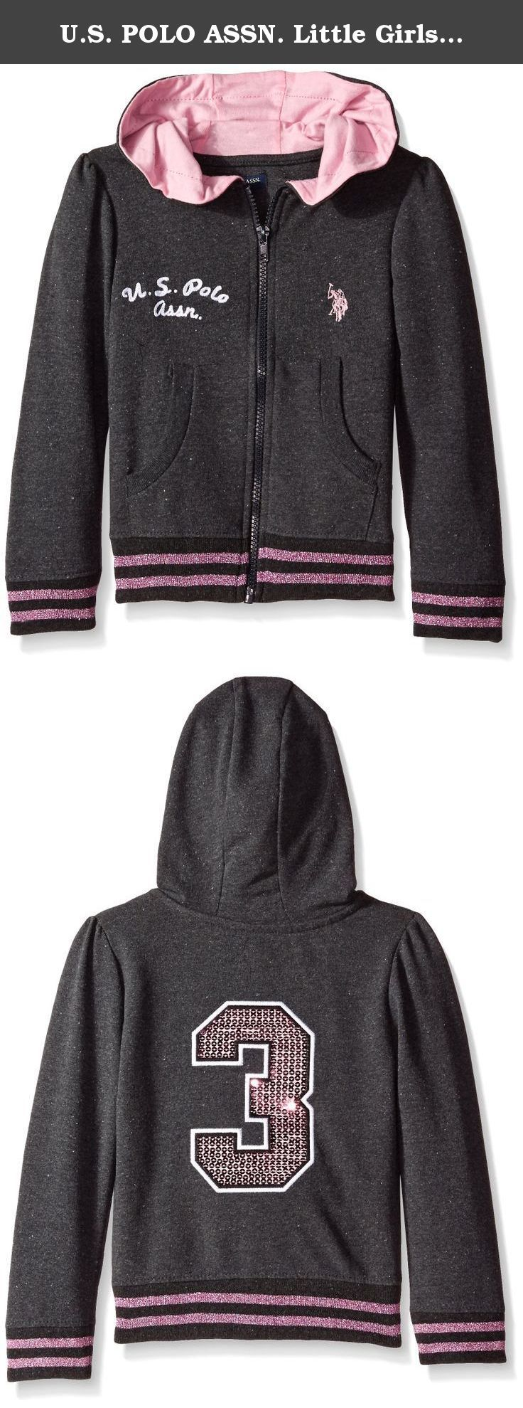 U.S Polo Assn Girls Lurex and Sequined Trimmed French Terry Hoodie