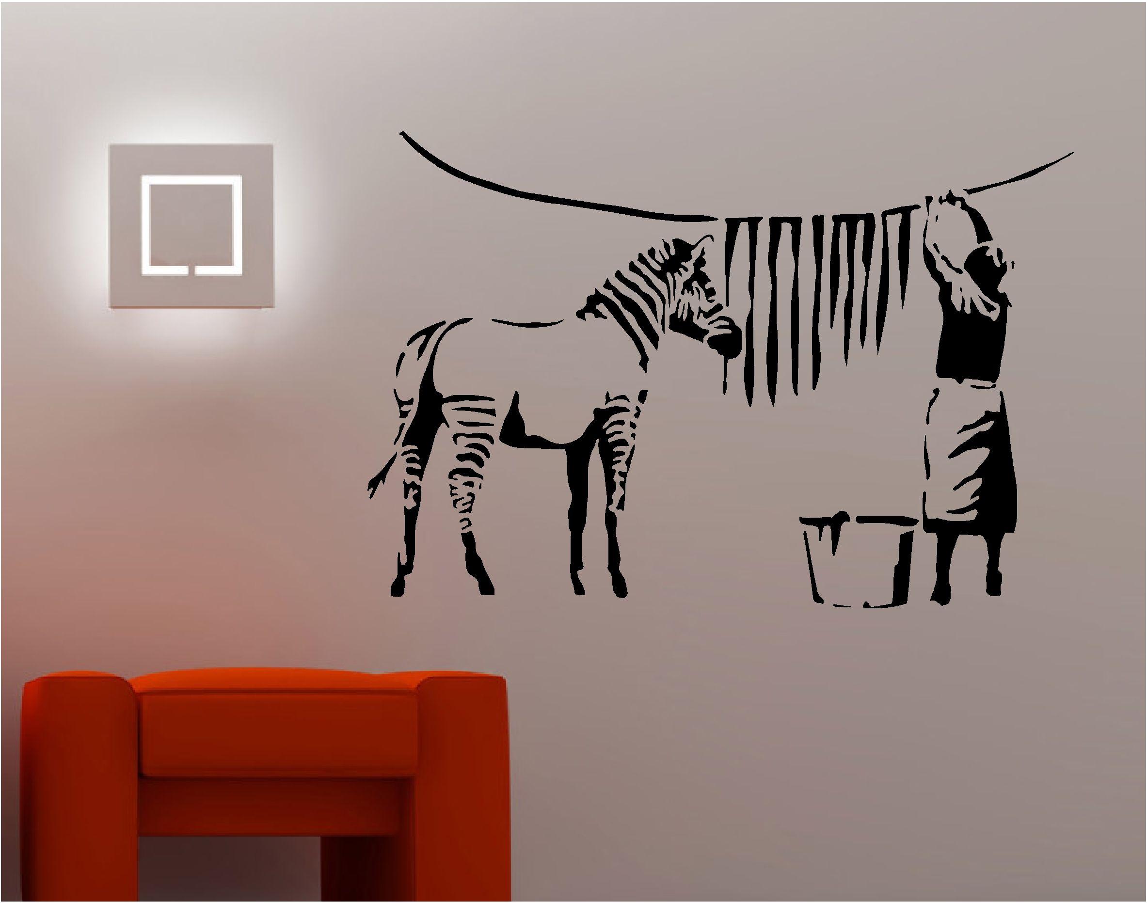 BANKSY STYLE ZEBRA WASHING Wall Art Sticker Vinyl Quote GRAFFITI LOUNGE  KITCHEN