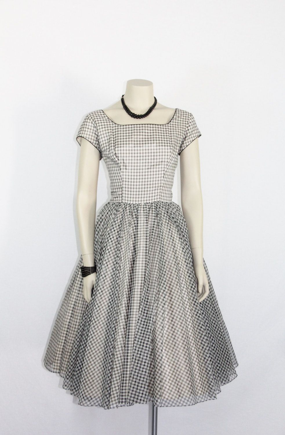 1950's Vintage Dress   White and Black by VintageFrocksOfFancy
