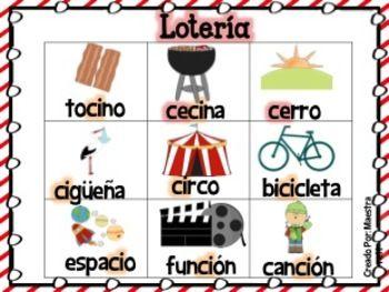 Ortografía: Lotería con palabras Ce y Ci Bilingual