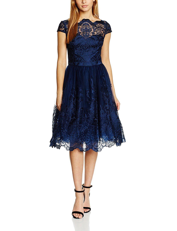 60a4385a007c49 Chi Chi London Damen Standard-Kleider Cap Sleeve Baroque Style, Navy  (Marineblau)