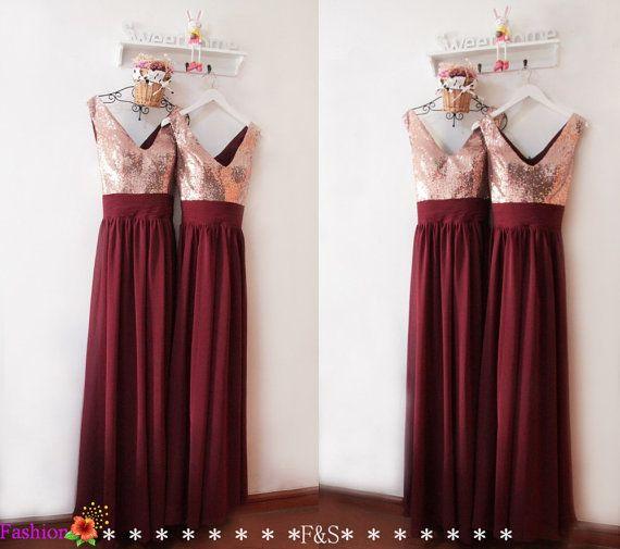 b361cebd3d Bridesmaid Dresses Long ,Burgundy Sequin Bridesmaid Dress,V-Back ...