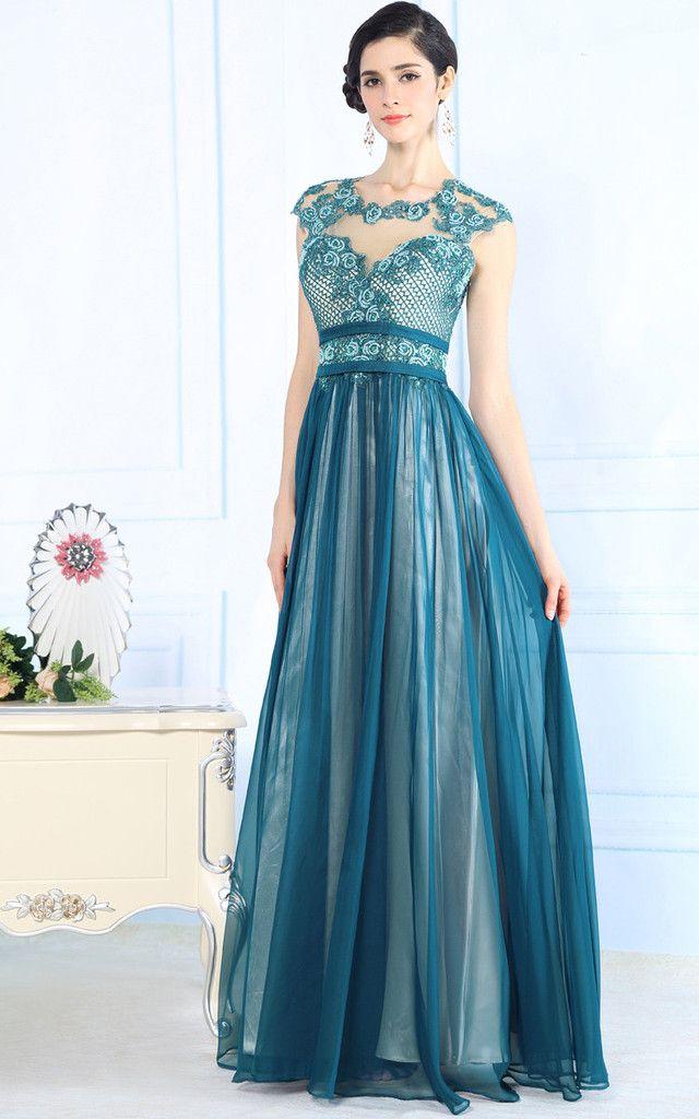 Elegant Teal Evening Dress Silk