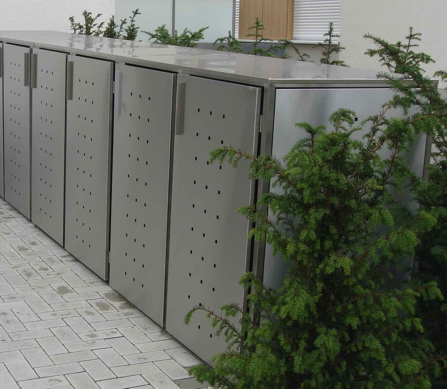 5er mülltonnenbox edelstahl für 120 liter mit flachdach und