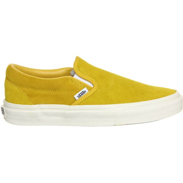 48ae8b24e8 Vans Vans Classic Slip On Vintage Suede Sulphur Yellow ( 69) ❤ liked on  Polyvore featuring shoes