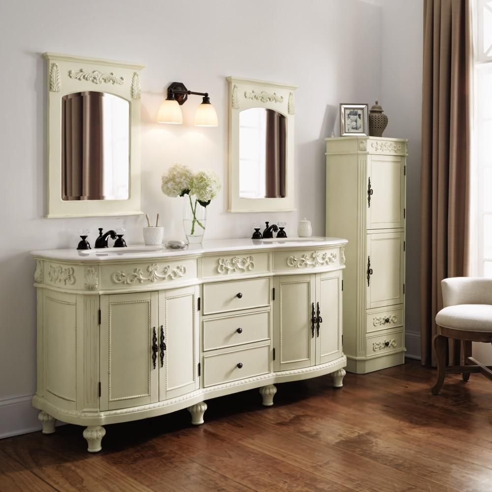 Home Decorators Collection Chelsea 72 in. Double Vanity in Antique White  with Marble Vanity Top - Home Decorators Collection Chelsea 72 In. W Double Bath Vanity In