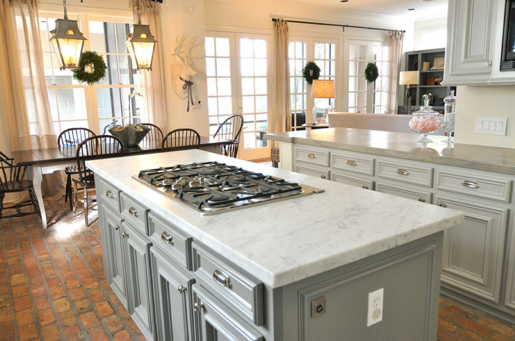 Grey kitchen cabinets & marble style tops | Home | Pinterest | Grey ...