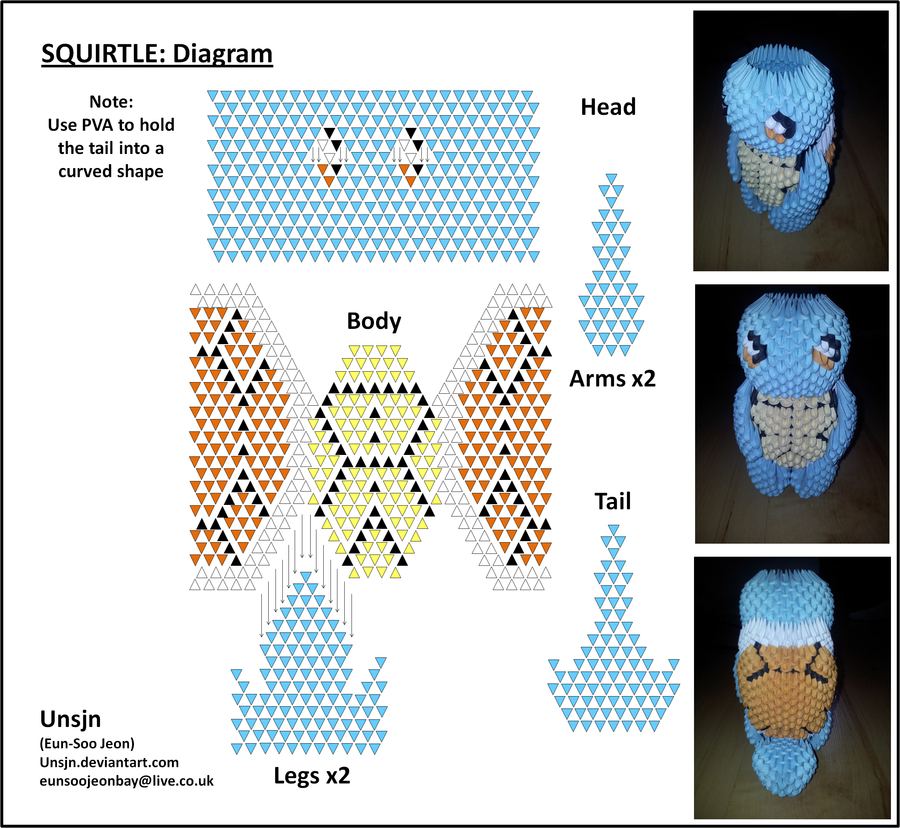 3d squirtle diagram by unsjn deviantart com on deviantart 3d rh pinterest com 3d origami diagrams printable 3d origami pokemon diagrams