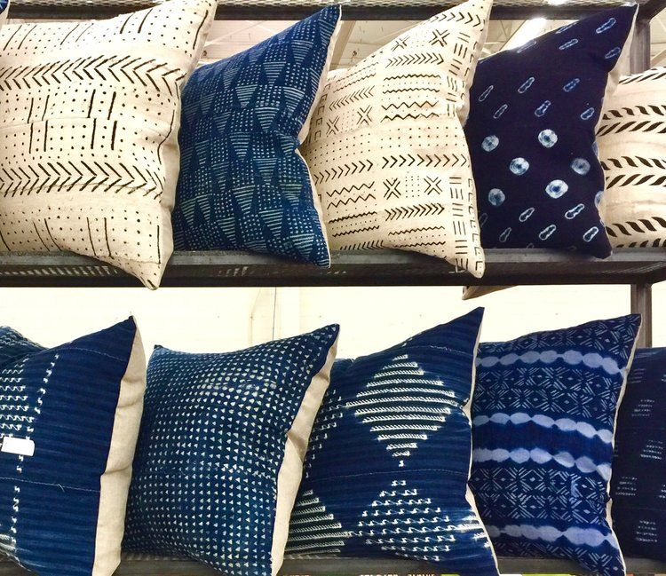 bedrooms indigo blue mudcloth pillows