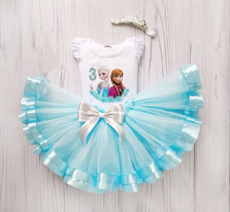 Baby Girl Birthday Gift Idea Blue Dress Princess Party Tulle   Etsy
