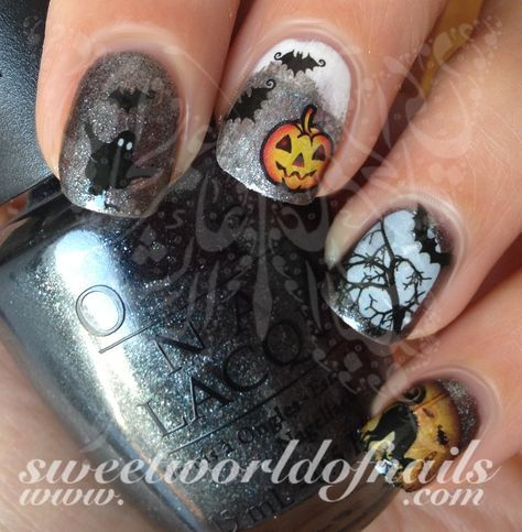 Halloween Nail Art Scary Cat Bats Tree Ghost Nail Water Decals