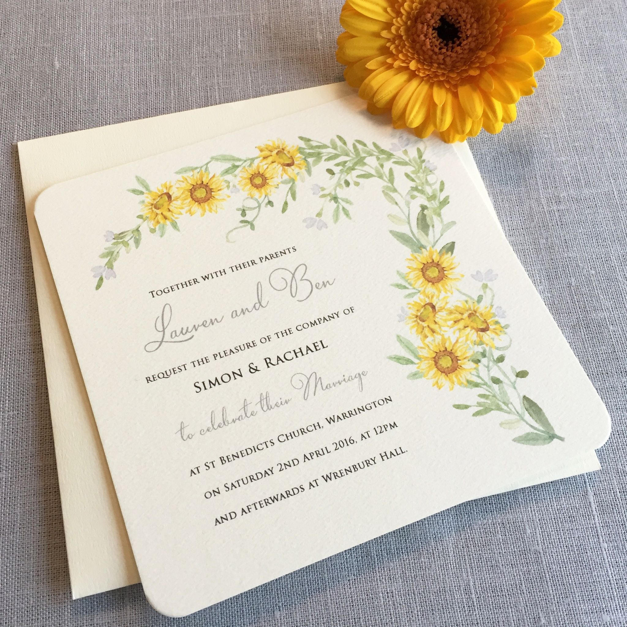 Sunflower wedding invite Sunflower wedding invitations