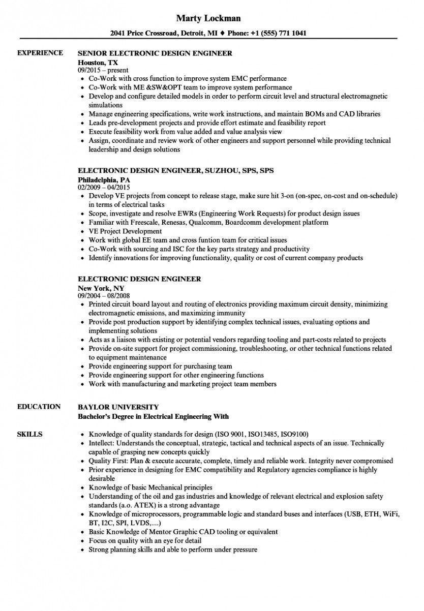 11 Resume Engineer Digital in 2020 Resume examples, Good