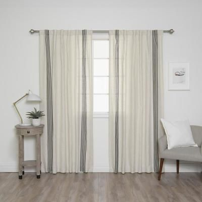 Best Home Fashion 84 In L Linen Blend Ivory Curtain Panels With