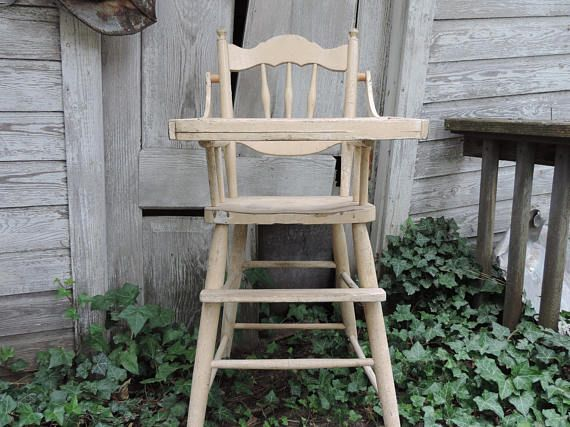Vintage High Chair Antique Wooden High Chair Childs Naturally Distressed  Primitive High Chair Photo Film Prop Chair Decor SALE was - Vintage High Chair Antique Wooden High Chair Childs Naturally