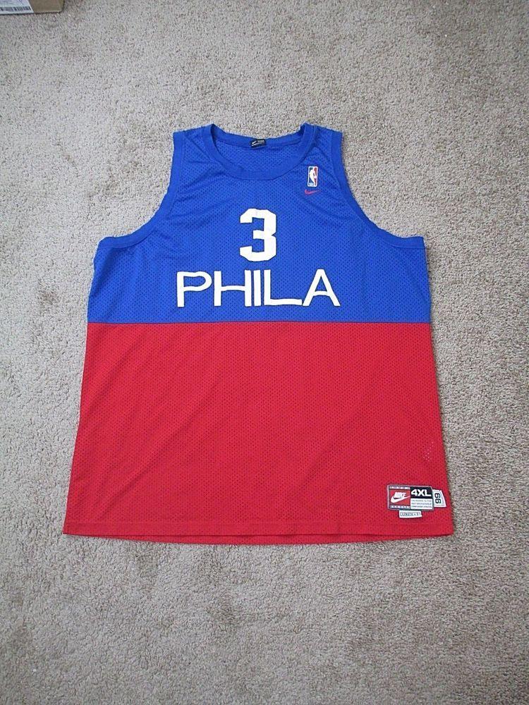 Nike NBA  3 Phila 76ers Philadelphia Allen Iverson Sewn Retro Jersey  3 4XL  Vtg fdd01ca1b