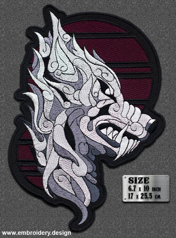 c7eaf1a93cde8 Large patch Silver Mystic Wolf - Iron on / Sew on - 6.7 x 10 inches ...